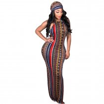 women ladies fashion dresses stripe long maxi boho casual dress