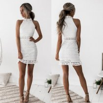 Vintage hollow out lace dress women Elegant sleeveless white dress summer dress