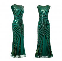 Formal Evening Dress 1920s Sequin Mermaid Formal Long Flapper Gown Party