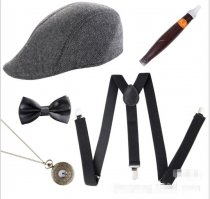 Mens 1920s 20s Gangster Set Hat Braces Tie Cigar Gatsby Costume Accessories  1920S FLAPPER GANGSTER COSTUME ACCESSORY