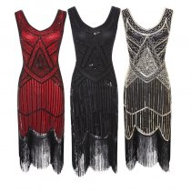 Retro Sequined Dress Nailed Fringed Dress High-end Banquet Nigh Queen Glitter Dress Cosplay