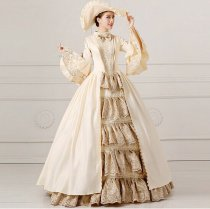 Medieval Renaissance Victorian Dresses Champagne Masquerade Costumes