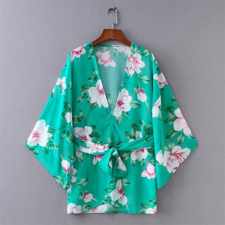 8652 Mint Floral Print Short Sleeve Kimono with Side Tie