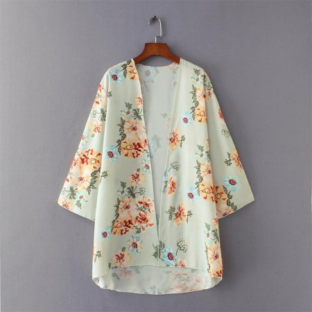 8689 Women Kimono Cardigan Floral Printed Casual Loose Beachwear Cover ups Tops ecowalson