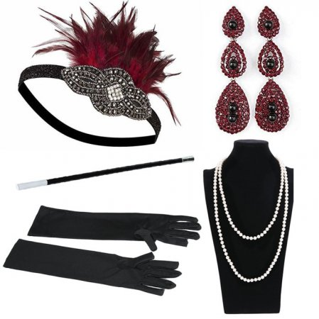 Costume accessory Women's Gloves feather headbands 1920s Flapper necklace earing Great Gatsby Accessories Cigarette Holder Set