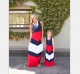Family Fitted Mother and Daughter Casual Boho Stripe Maxi Dress Matching Outfits
