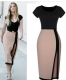 2015 New elegant open fork high waist cocktail party bodycon women fashion evening formal dress SV003300