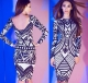 LQ4718 2015 Tribal Aztec Black White Cocktail Tight Bodycon woman stylish dress SV007693