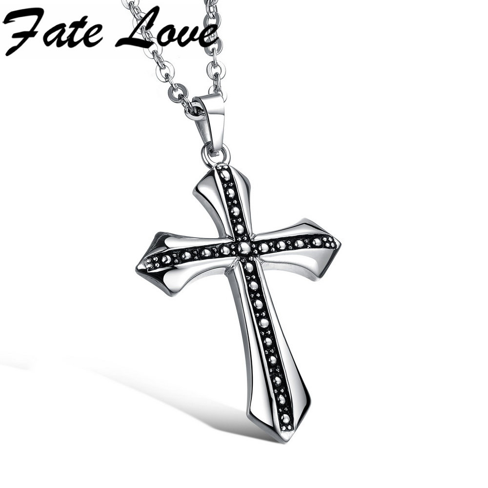 Us 1203 fate love new male necklaces pendants 316l stainless men classic cross pendant necklace fl938 loading zoom mozeypictures Image collections