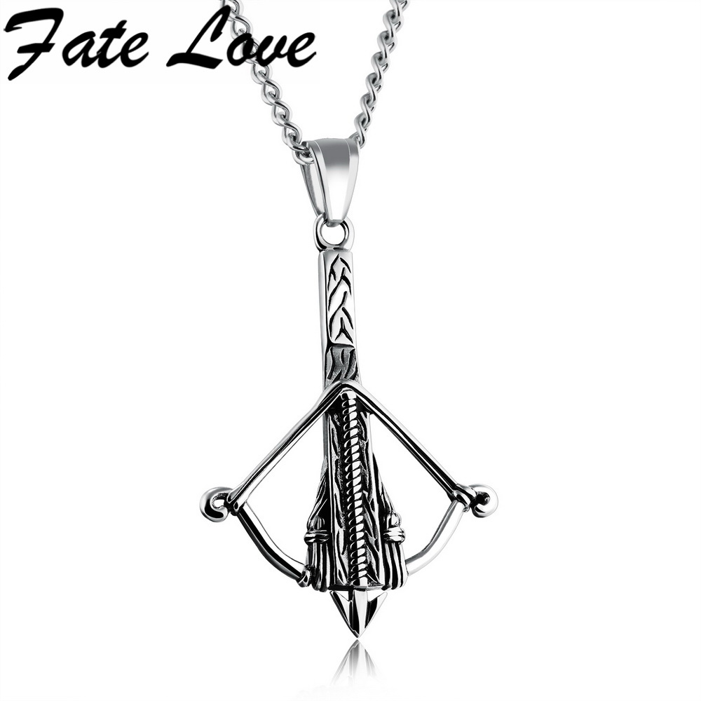 Us 1243 fate love new creative bow arrow necklaces stainless fate love new creative bow arrow necklaces stainless steel 3 colors crossbow pendant necklace man hip pop charms jewelry fl1185 item no 2fl1185 aloadofball Images