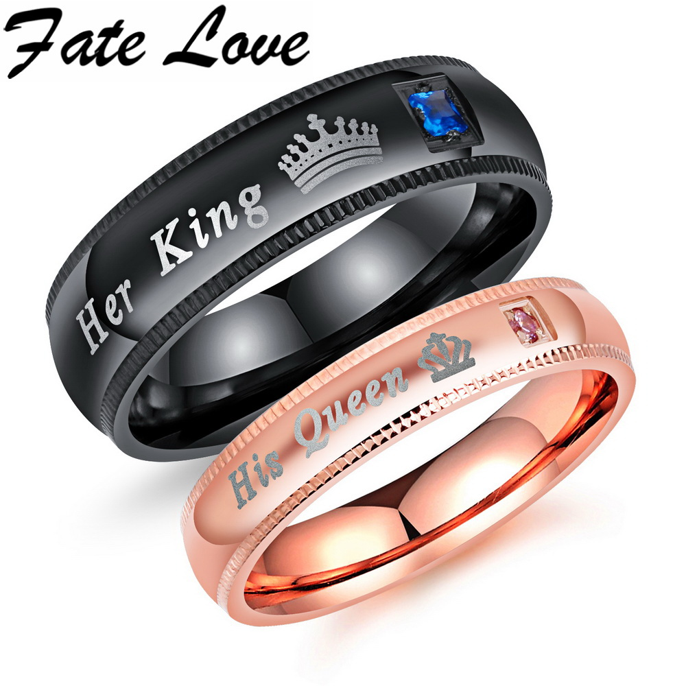 US 948 Fate Love Engagement Promise Ring Bands Her King And His