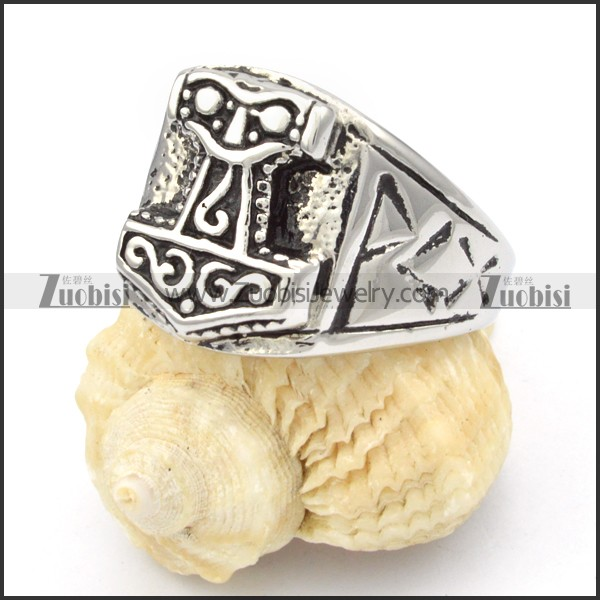 Stainless Steel Hammer Of Thor Rings R000379 Item No