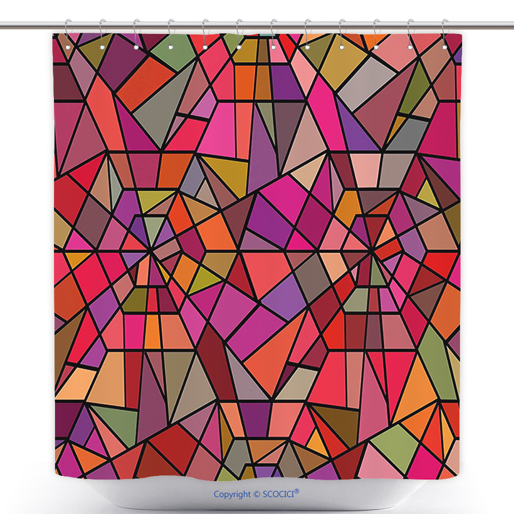 cool shower curtain abstract mosaic style stained glass fractal colorful geometric triangle forms artful image multicolor polyester bathroom decor set with