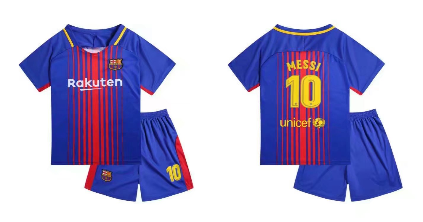 0fa7b73bbaf 17-18 Kids Barcelona Home Soccer Jersey Uniform Shirt+Short Children Messi  10 Football Kits Sport Jersey Item NO  268452