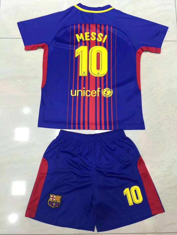 80279f8d4b0 17-18 Kids Barcelona Home Soccer Jersey Uniform Shirt+Short Children Messi  10 Football Kits Sport Jersey