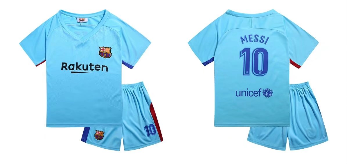 676bce5a6 17-18 Cheaper Children Barcelona Away Blue Soccer Jersey Uniform Kids  Football Kits Messi 10 Item NO  268453