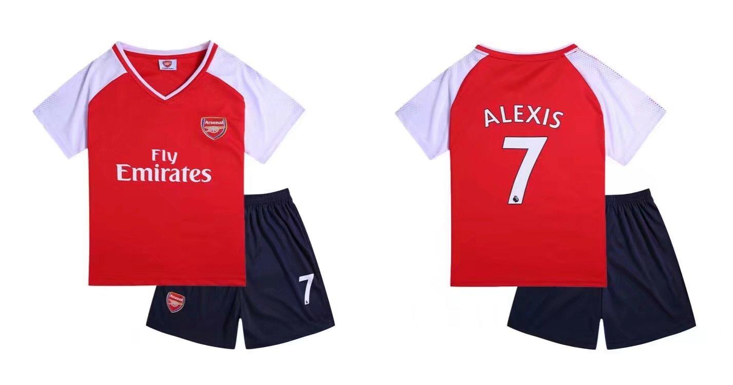 d00077d64df 17-18 Cheap Kits Arsenal Home Soccer Jersey Uniform Alexis 7 Kids Complete  Shirt+short
