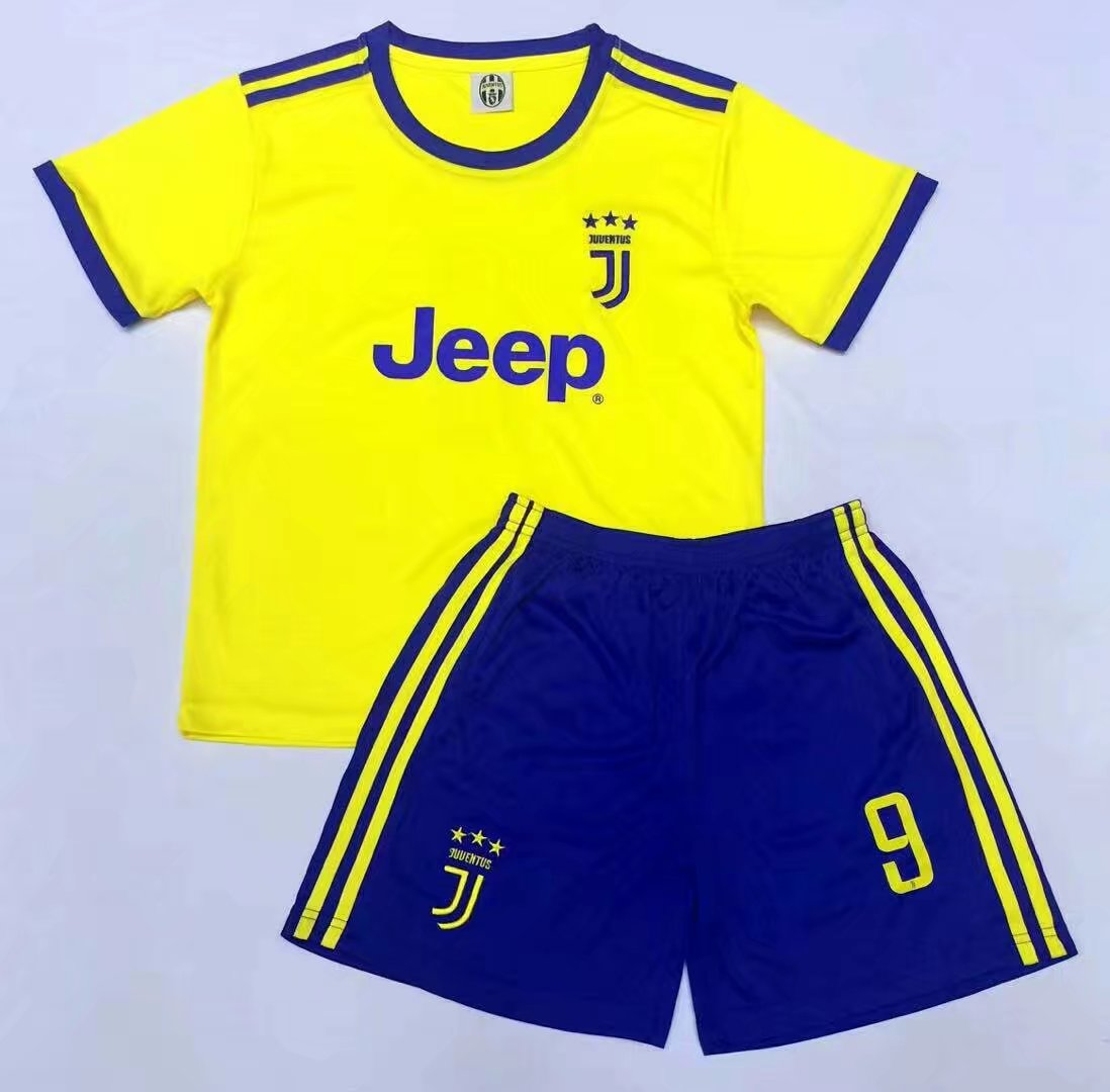 f69cd134b 17-18 Cheap Kids Juventus Away Soccer Jersey Uniform Yellow Higuain 9 Kids  Football Jersey Kits Shirt+Short Item NO  269307