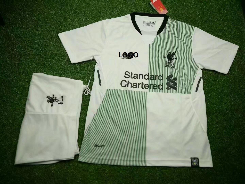 d2de18c21 17-18 Cheap Adult Liverpool Away Soccer Jersey Uniform Man White Complete  Trainning Sport Tracksuit Shirt+short Item NO  409469