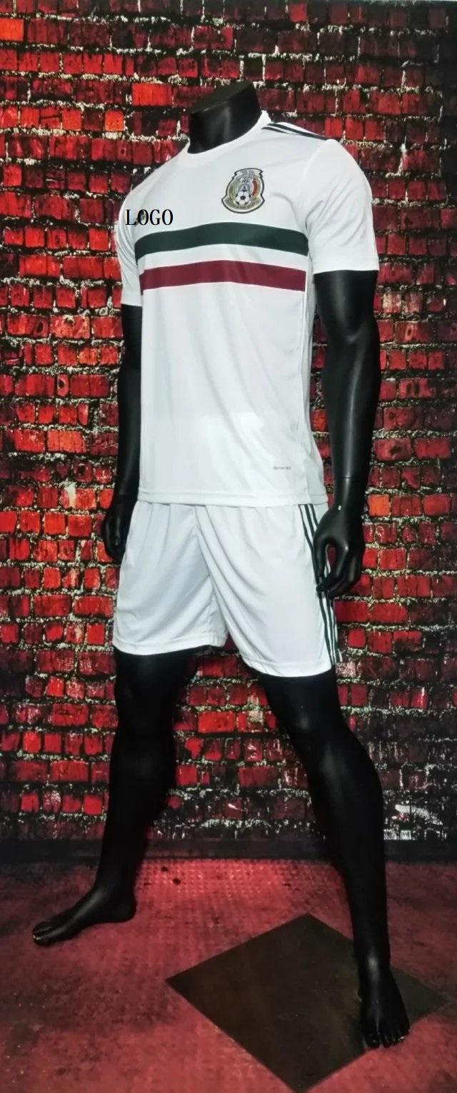 newest 8d469 de264 2017 Cheap Adult Mexico Away White Soccer Jersey Uniforms Men Football  Jersey Set Shirt+Short Tracksuit