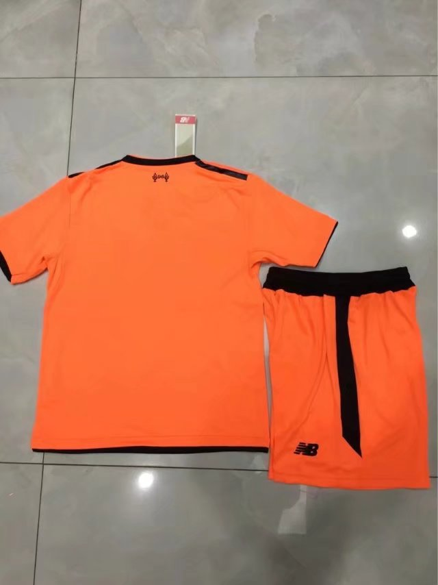 low priced c3e03 7a568 17/18 Kids Liverpool Orange Third Away Soccer Jersey Uniform Children  Soccer Jersey Kits