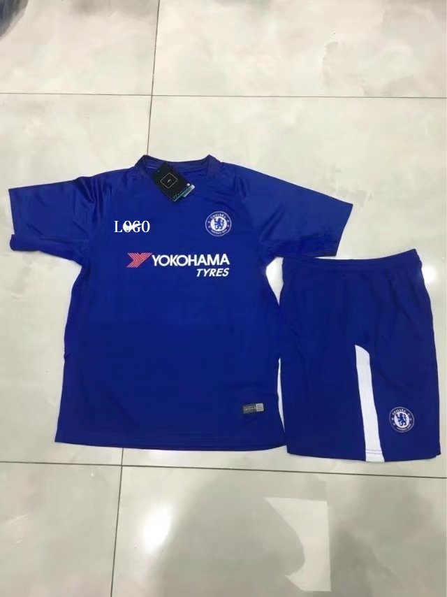 43ce551f396 17/18 Cheap Children Chelsea Home Soccer Jersey Blue Uniform Kids Football  Kits Item NO: 450736