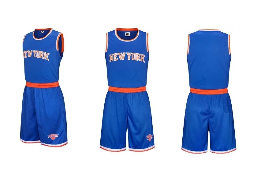 2fb440c10 Men s New York Knicks Blue Jersey Uniforms Adult Basketball Kits Team Sets  Custom Name Number Item NO  453790