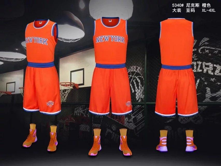 reputable site e01f5 66471 Men's New York Knicks Orange Jersey Uniforms Adult Basketball Kits Team  Sets Custom Name Number