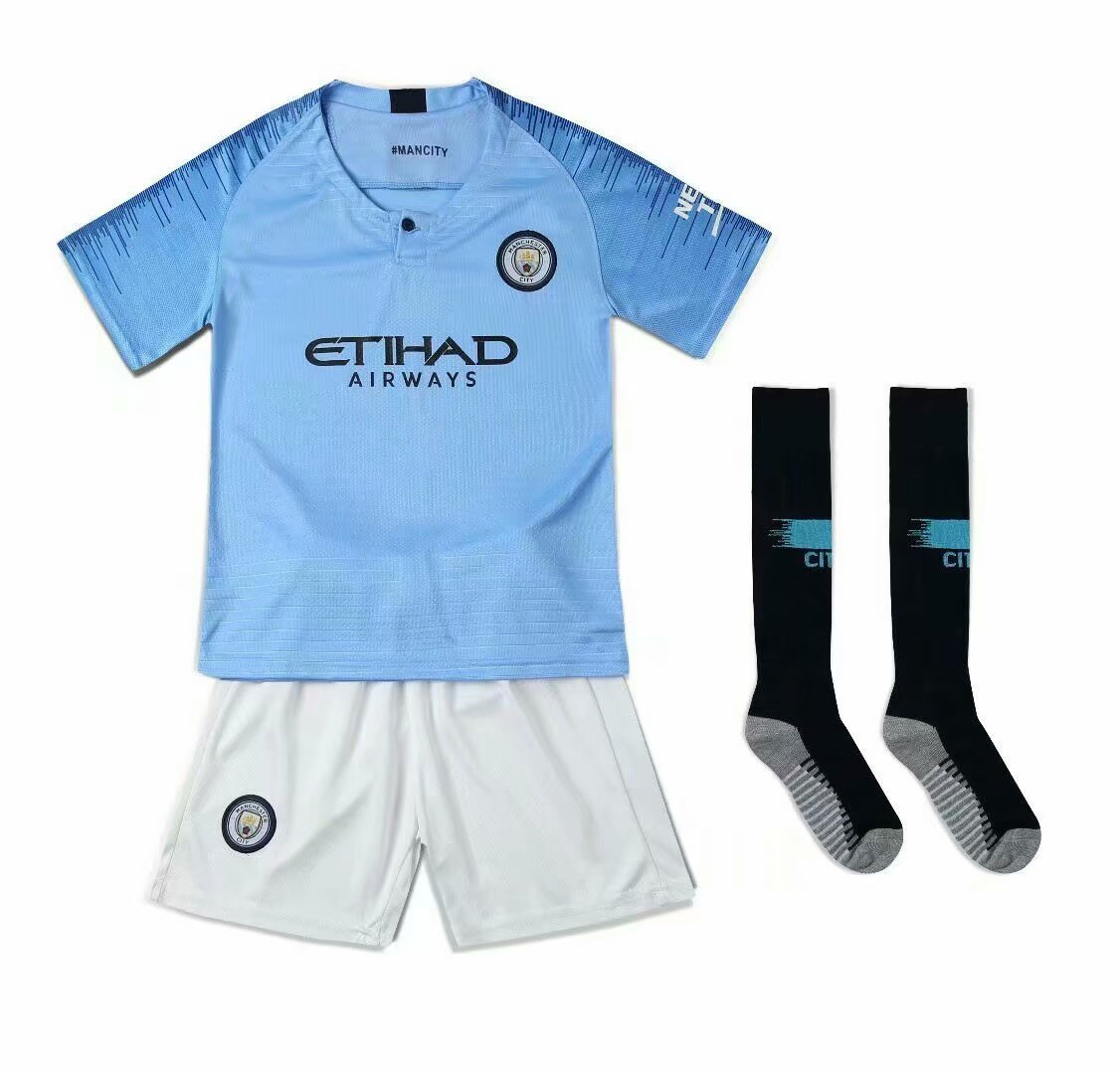 wholesale dealer b6d45 c6a32 2018/19 Kids Manchester City Home Without Brand Logo Soccer Kits Children  Football Uniform