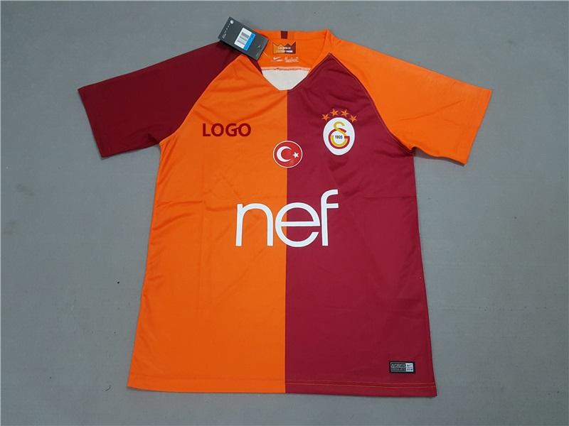 5be8ac0e7cb 2018 19 Men Galatasaray Home Orange Soccer Jersey -Thai Quality Cheap Adult  Football Shirt