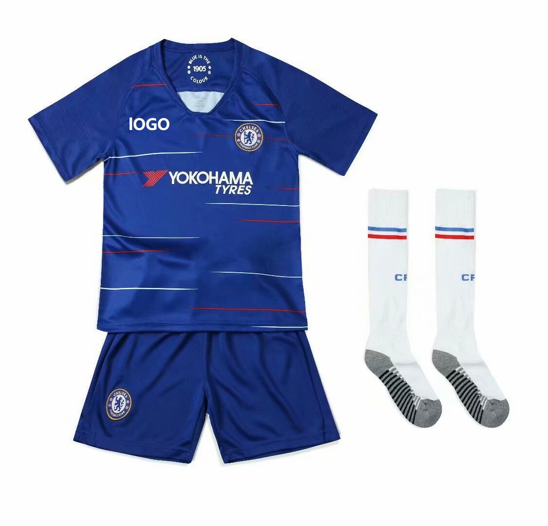 size 40 4e646 10bfc 2018/19 Kids Chelsea With Logo Soccer Uniforms Children Football Kits