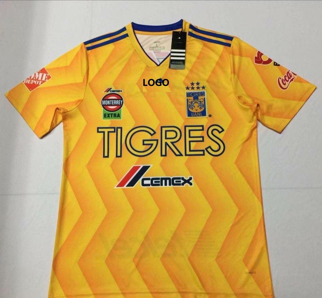 32de51ecaa9 18-19 Thai Qualit Men 6 star tigres yellow home Soccer Jersey Football  Shirt Custom Name And Number