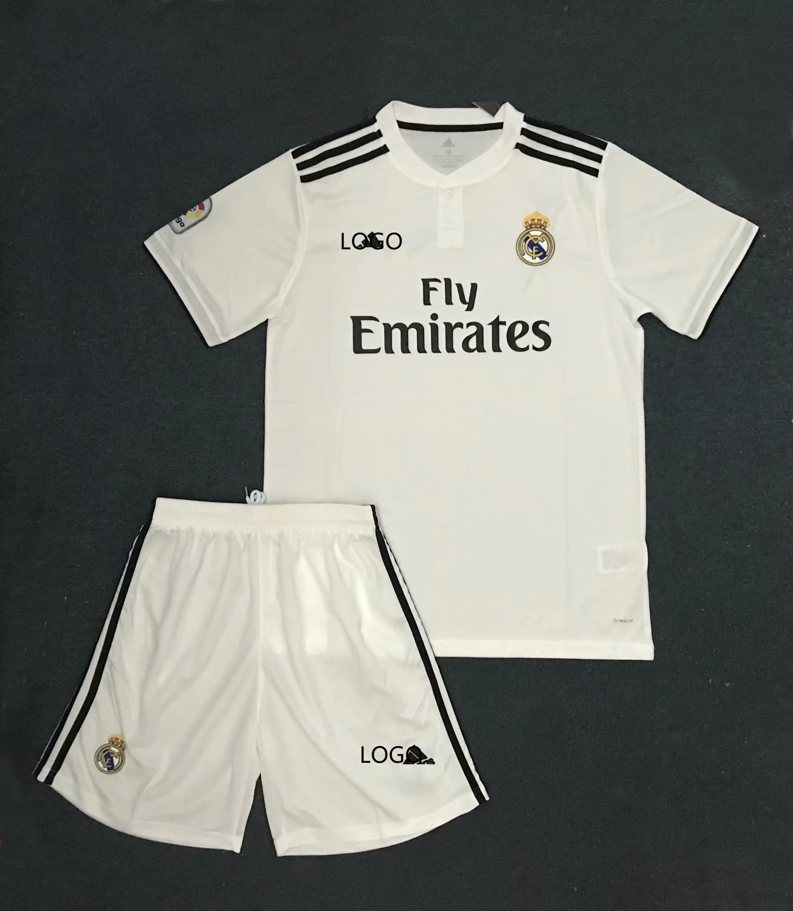 9022607f7 2018 19 Kids Real Madrid Home White Without Brand Logo Soccer Kits Children  Football Uniform