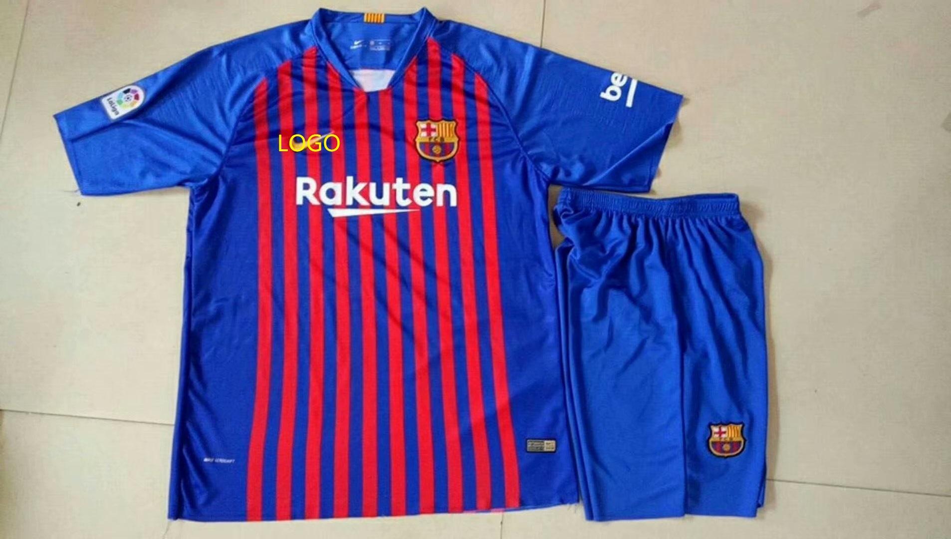 huge selection of 30826 60c42 2018/19 Kids Barcelona Home Blue With Brand Logo Soccer Kits Children  Football Uniform