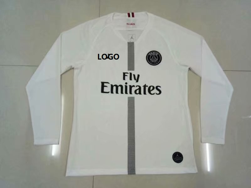 85b9c2fe50b 2018/19 Thai Quality PSG WHITE LONG SLEEVE JORDAN SOCCER JERSEY Men  Football Shirt Item NO: 557125