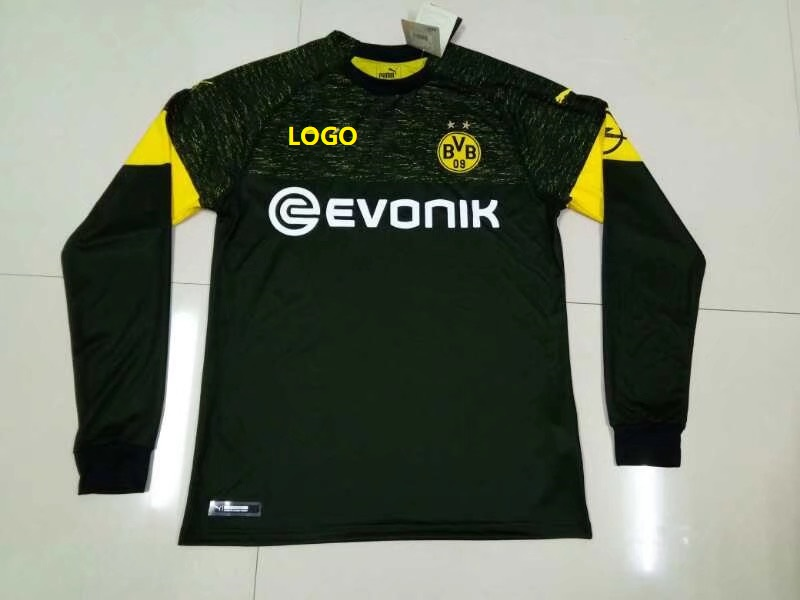 best authentic 5730a f61b2 2018/19 Thai Quality Adult Borussia Dortmund black away long sleeve Soccer  Jersey Men Football Shirt