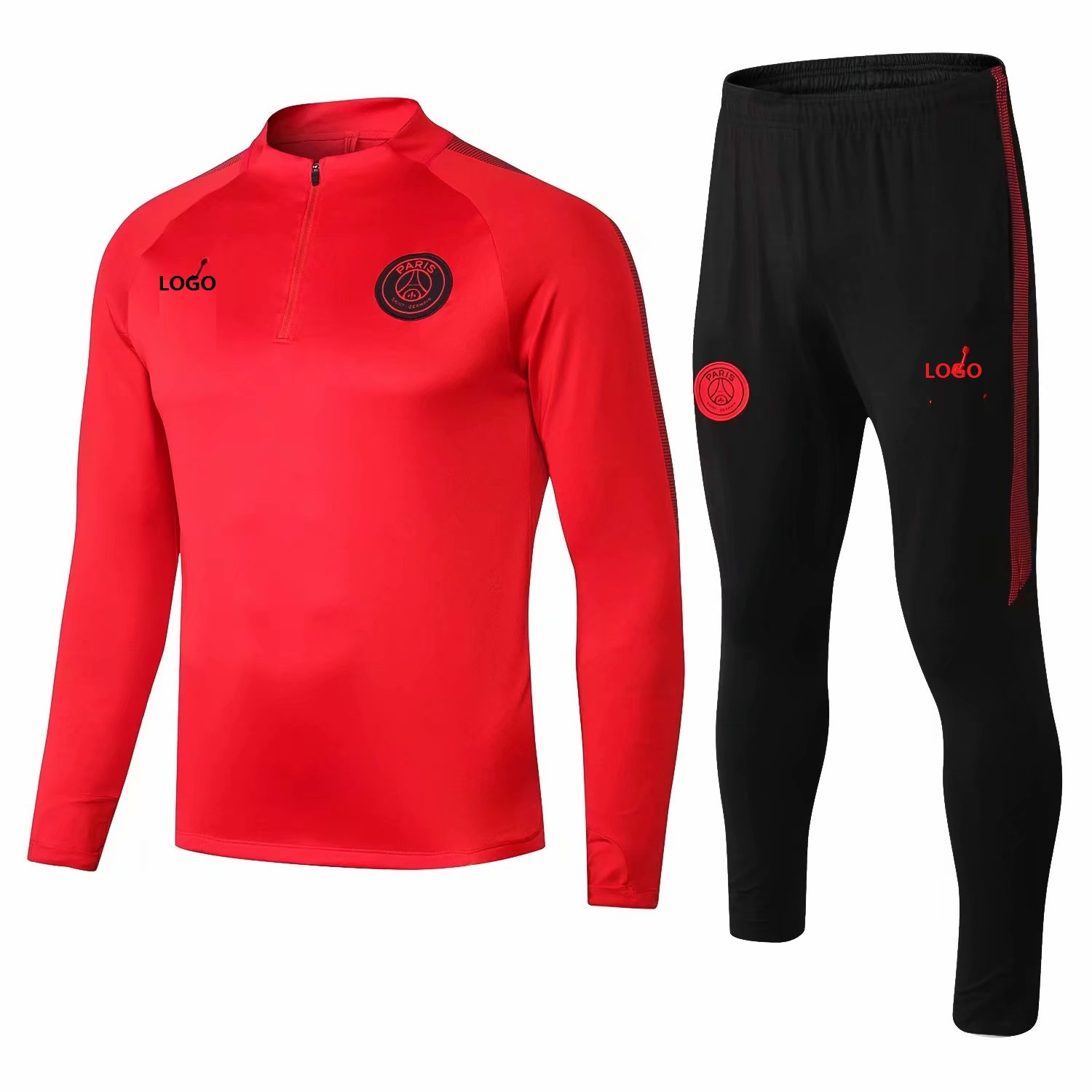 2018 19 Men PSG Red Tracksuit Sets Adult Paris Training Football Jacket Sets 0c2cb17f5