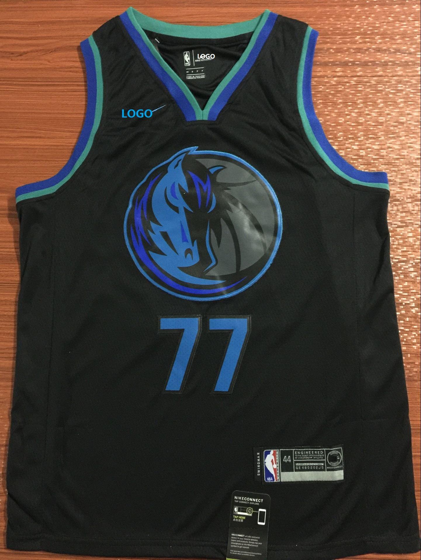low priced b64d5 9ce16 Mavericks dallas 77 doncic basketball jersey black