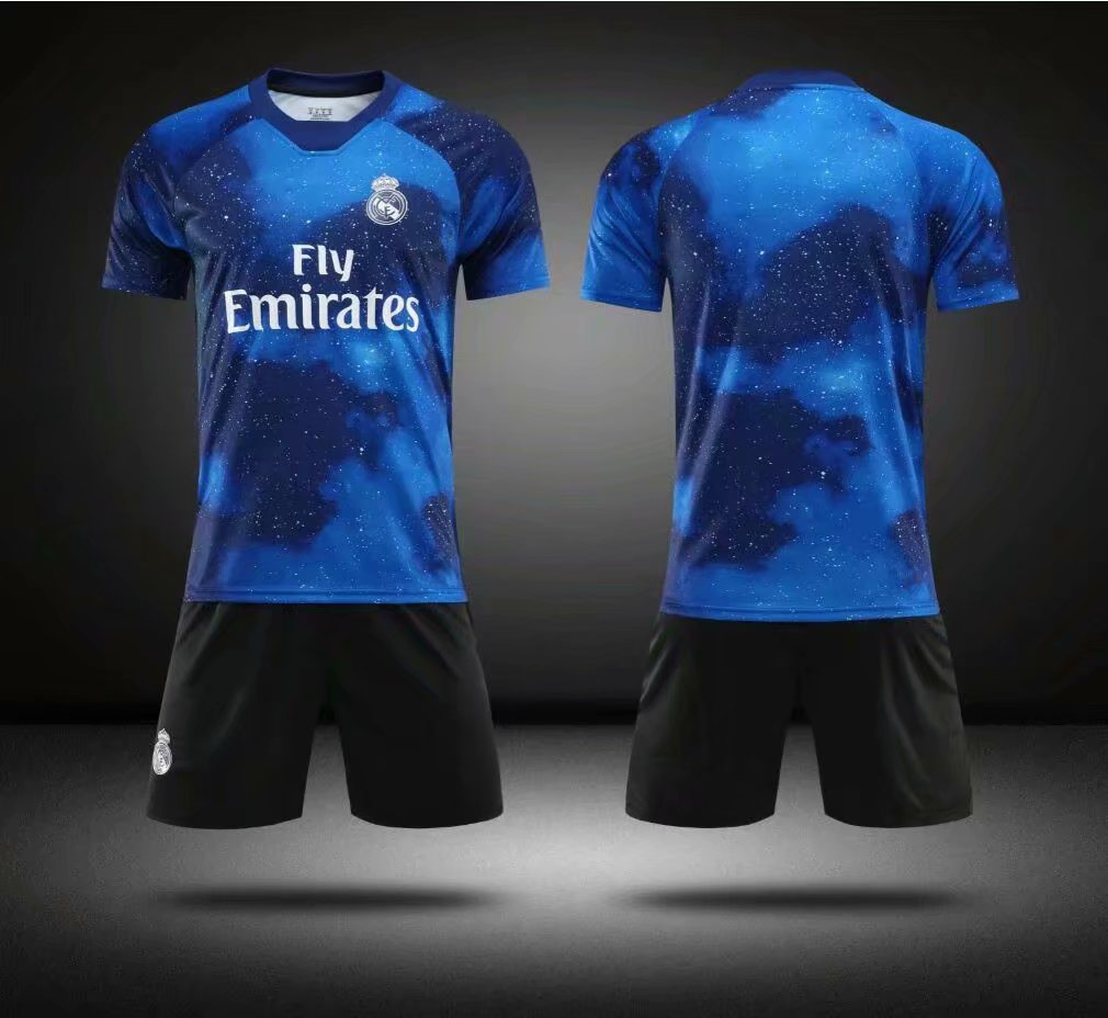 hot sales e4509 0b850 Without Logo 2018-19 AAA Kids Real Madrid EA Sports Soccer Uniforms  Children Football Kits
