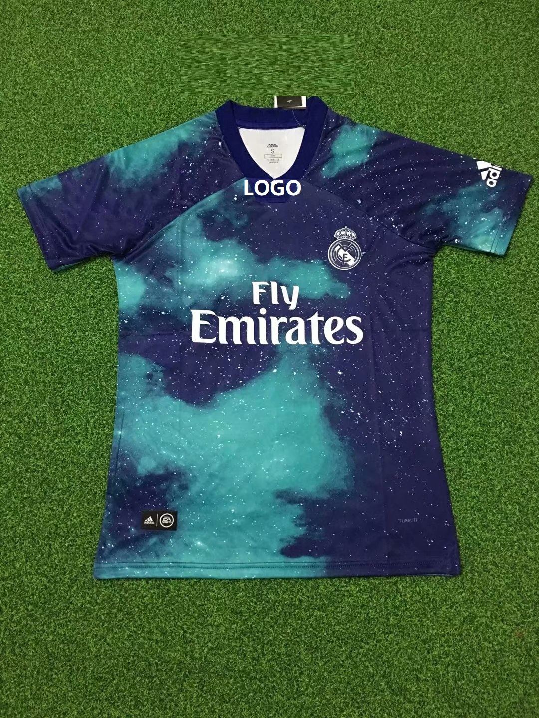 4068f9e1 18-19 Real madrid EA sports green Thai Quality soccer jersey Adult Soccer  Jersey men football Shirt