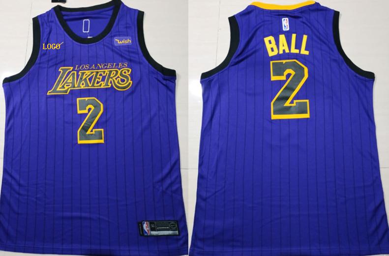 a33c4ff8b915 2018 Adult Lakers Purple Stripe 2 Ball Basketball Jerseys City Version