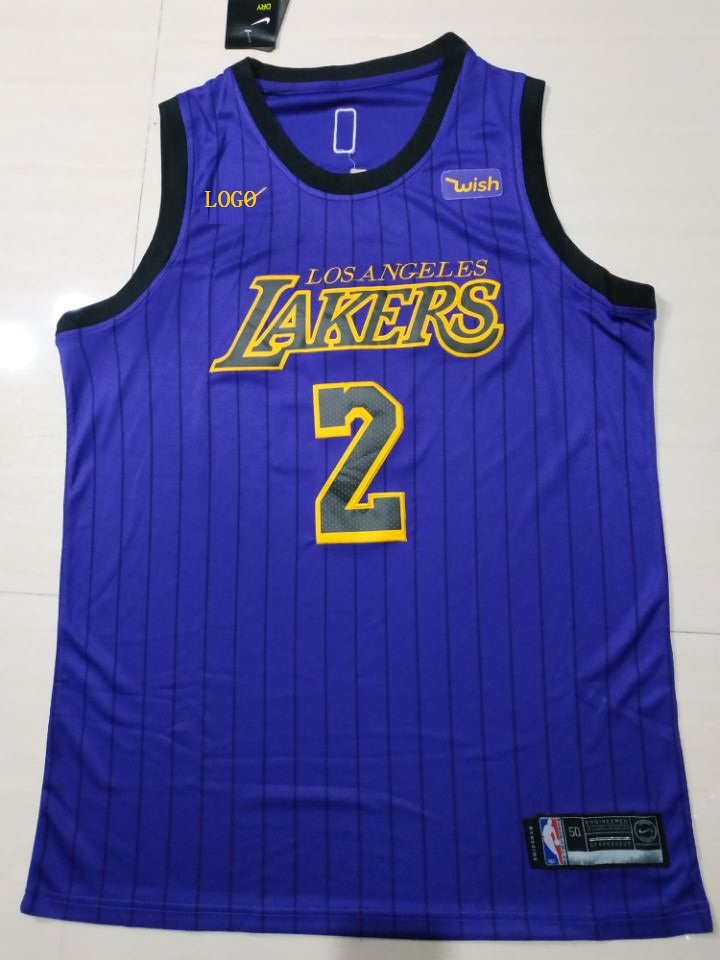 innovative design d7e24 a0e12 2018 Adult Lakers Purple Stripe 2 Ball Basketball Jerseys City Version