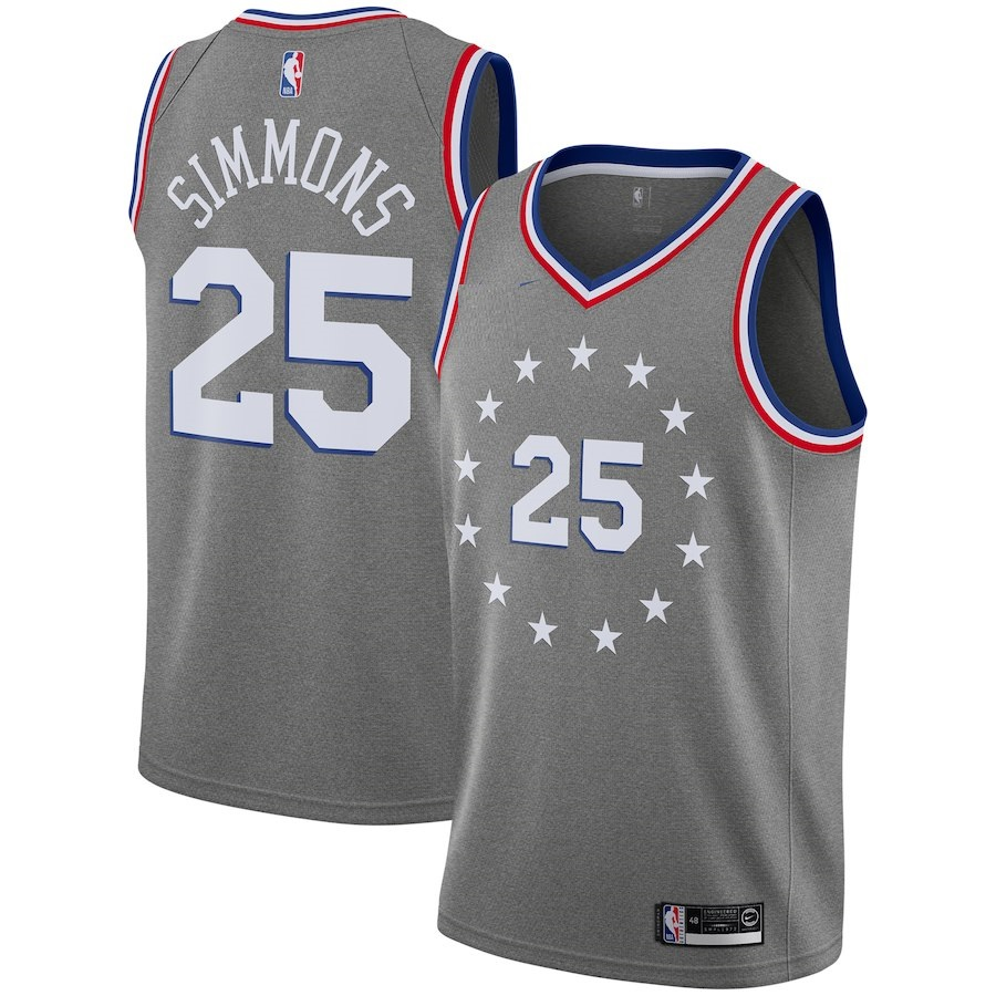 bf840902693 76 sixers simmons basketball jersey grey Item NO: 571490