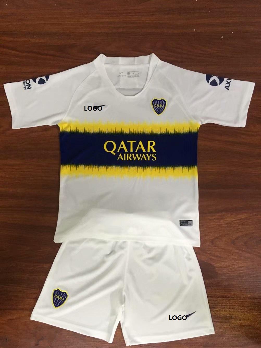 3ac56576623 2019 Kids Club Atlético Boca Away White Soccer Jersey Uniforms Kits  Wholesale
