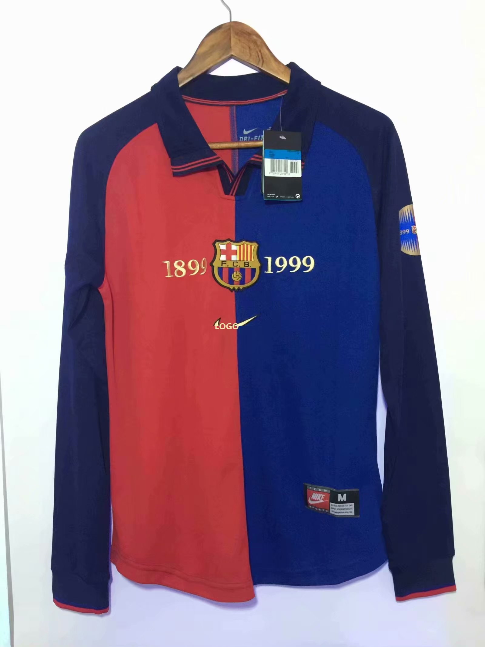 promo code ed781 38ded Men 1899-1999 Barcelona Retro 100 Years Jersey Long Sleeve Soccer Jersey