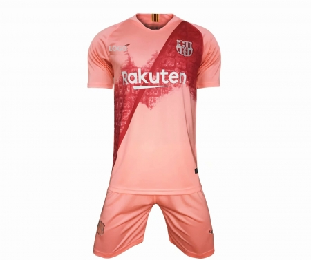 outlet store sale 00fe4 9fe99 2018/19 KIDS barcelona 3rd away pink Soccer Jersey Uniform CHILDREN  Football Kits AAA Quality