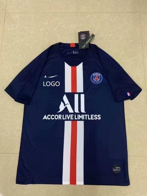 2164f9a07f5 19/20 Men PSG Training Football T Shirt Soccer Jersey Black