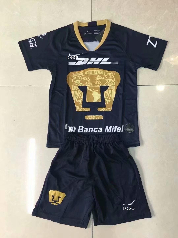 a68612c9bd1 19 20 Pumas UNAM Away balck Soccer Uniforms Kits