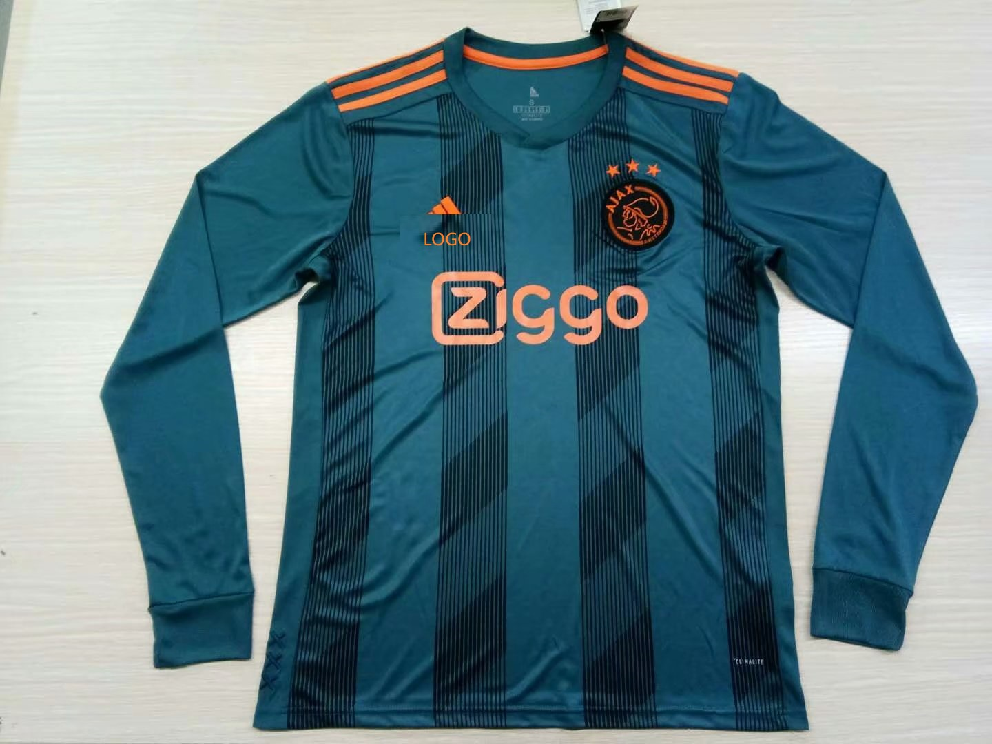 e0abb903737 19-20 Men fan version AFC Ajax green long sleeve Soccer jersey customize  name number
