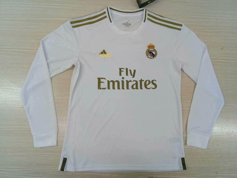 promo code b39cc 37acd 2019/20 men fan version real madrid home white long sleeve soccer jersey
